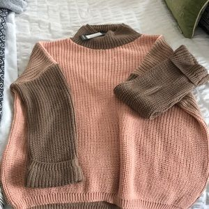 Oversized pink and brown sweater